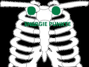 Brustkorbskelett mit eingezeichneten Energiepunkten im Schlüsselbein-Brustbein-Winkel